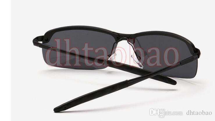 Moq=2017 New Summer Men Fashion HD Polarized Metal Dazzling Semi-Rimless Sunglasses Driving Glasses UV400