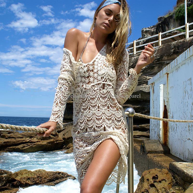 Summer Beach Bikini Cover Ups abiti Donna uncinetto scollo a V Pizzo lunghe camicette vacanza al mare Hollow Sunscreens Swimwear maglie a manica lunga