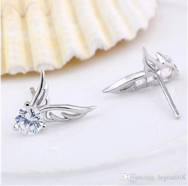 Nieuwe Wome's zilveren kleur sieraden engel vleugels kristal oor oorbellen glanzende CZ zirkoon sieraden brincos femme G533