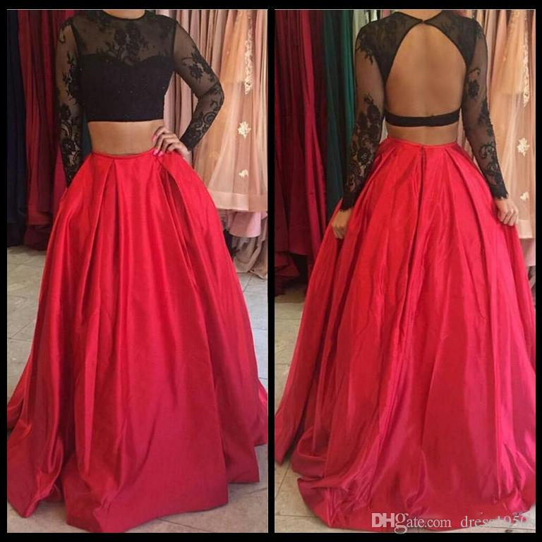 Sexy Long Sleeve Two Pieces Prom Dresses Top Black Lace And Red Skirt Satin Evening Formal Party Gowns