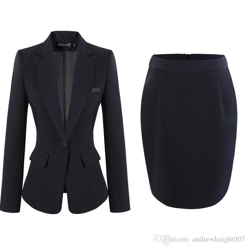 Mode Frauen Kleid Anzüge Büro Dame Arbeit Kleid OL Rock Hosen mit Formalen Mantel S-4XL Schwarz Grau Dunkelblau Kostenloser Versand