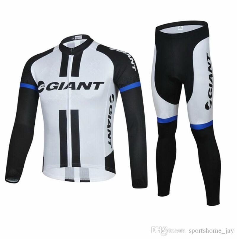 2014 Chegam novas gigante manga comprida jersey Ternos de Ciclismo Kit de Ciclismo camisa de ciclismo jersey de ciclismo Da Bicicleta Terno Kit de Ciclismo de Estrada bib calças