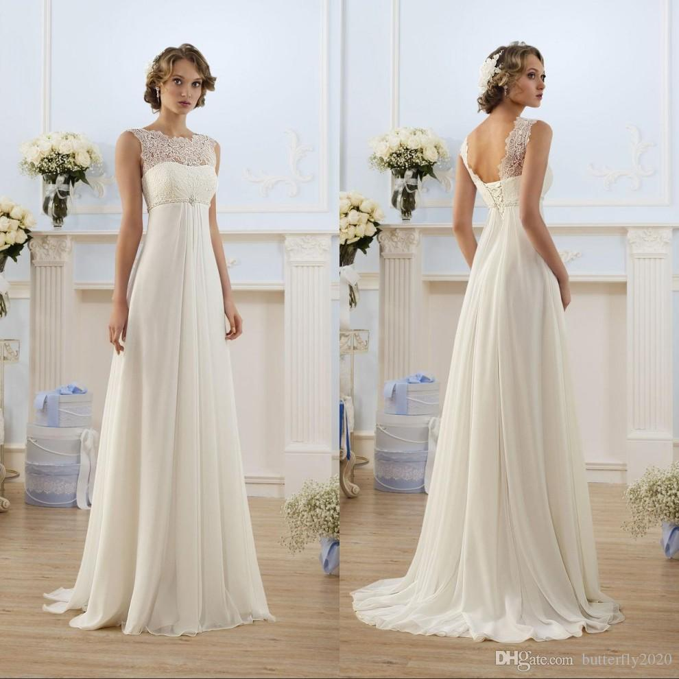 Elegant Lace Chiffon Beach Wedding Dresses Beading Belt Empire ...
