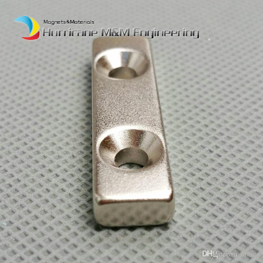 NdFeB Fix Magnet 40x15x10mm with 2 M4 Screw Countersunk Holes Block N42 Neodymium Rare Earth Permanent Magnet
