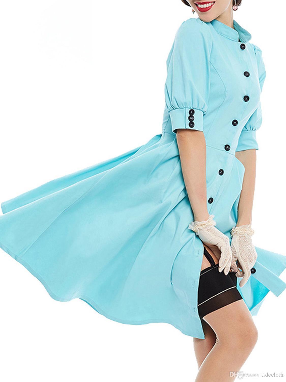 Women Vintage Party Dress 1950s 60s Style Plus Size Dress Summer ...