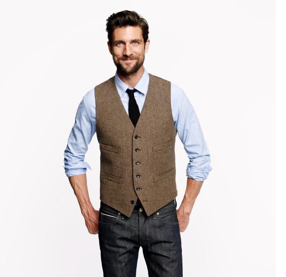 2017 Farm Wedding Vintage Brown Tweed Vests Groom Vest Mens Slim ...