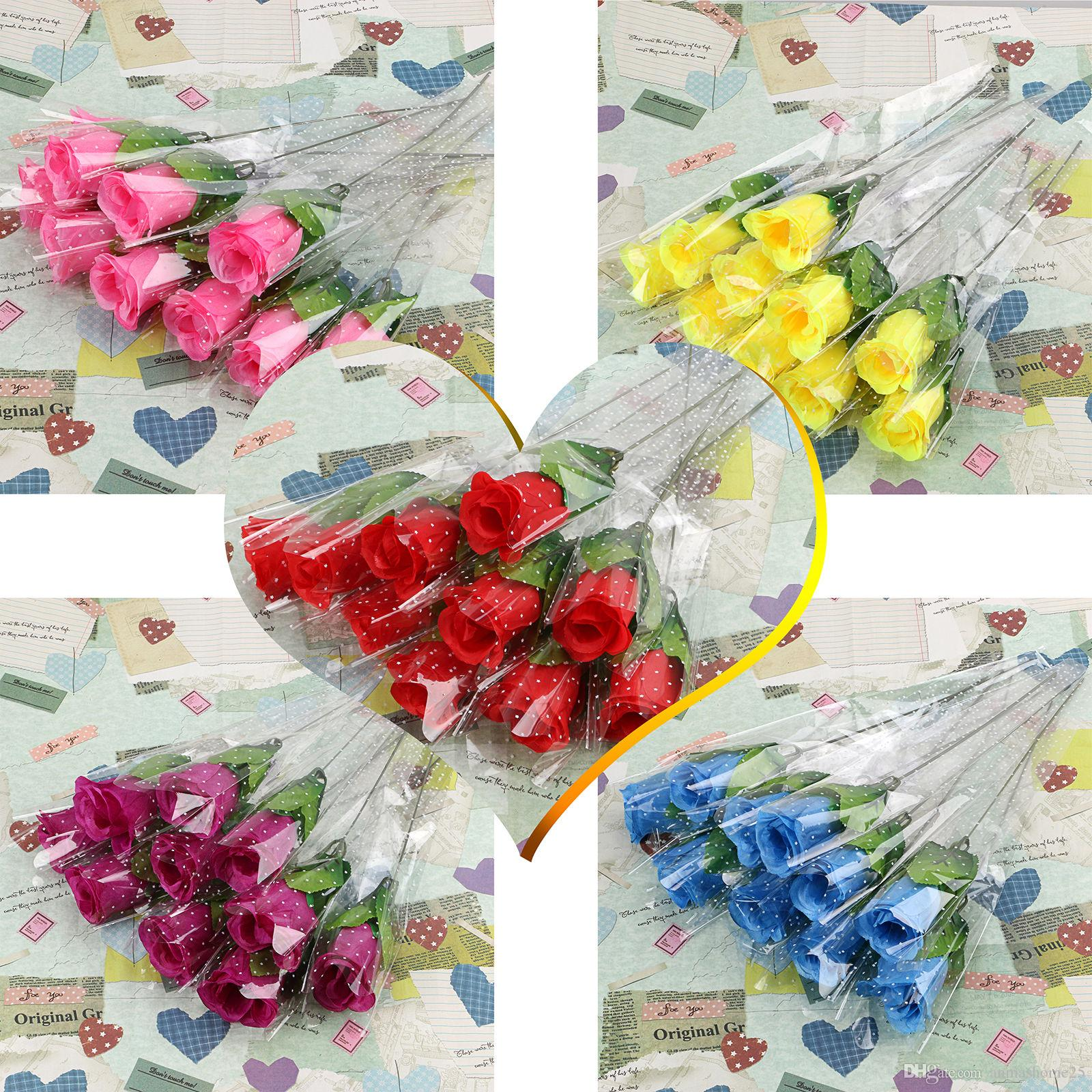 2018 A Set Lowest Price Single Stem Artificial Rose Silk Flowers