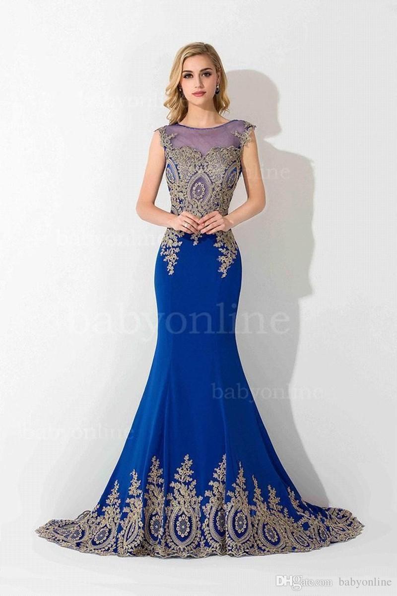 Reizvolle bloße Spitze-Nixe-lange Abschlussball-Kleider unter 60 eleganten königsblauen Abend-Party-Kleidern Vestido de Festa Longo CPS234