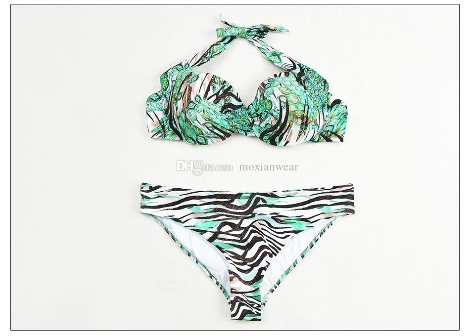 Verde esmeralda biquíni com botões de metal maiô decorativo Moda feminina roupas de praia fontes termais do SPA pode ser usado de Alta qualidade 1136