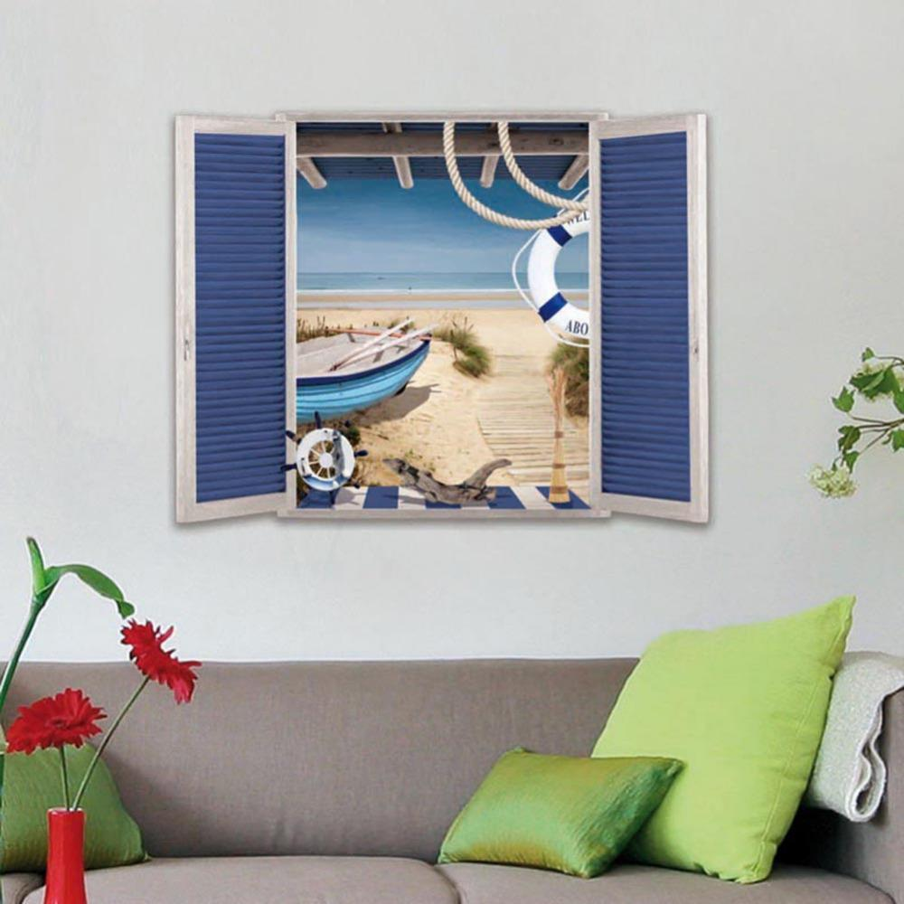 Creative fake window seascape 3d wall stickers lifelike false creative fake window seascape 3d wall stickers lifelike false window living room bar wall sticker high quality mural art 5070cm large wall decals cheap amipublicfo Images