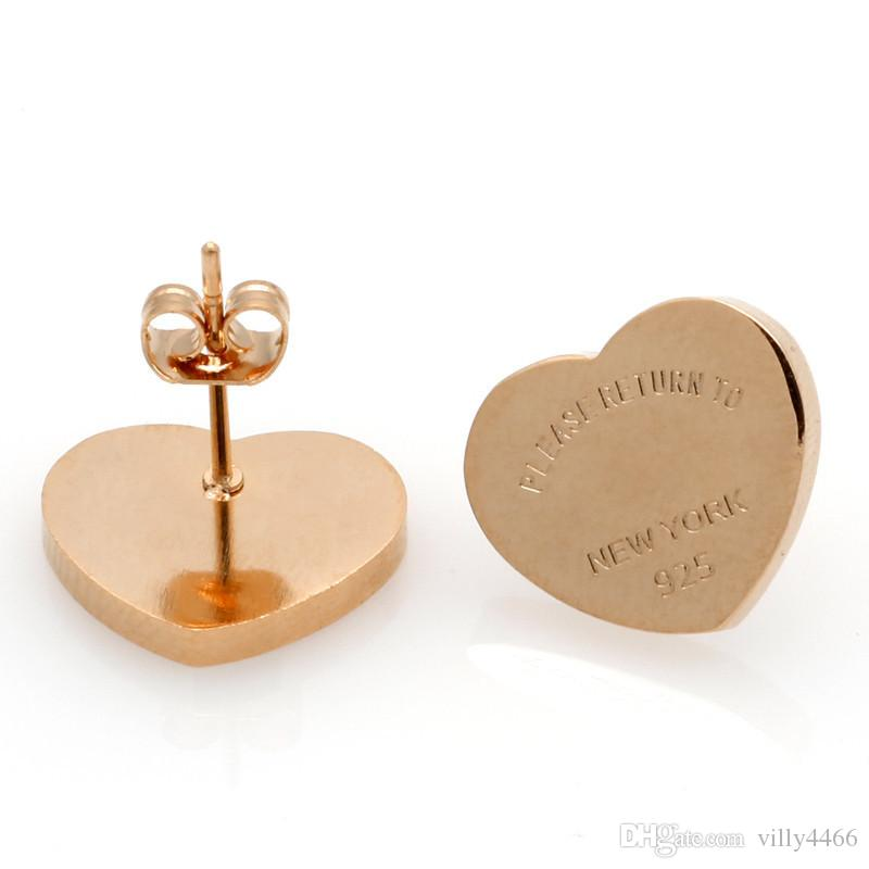 Moda marka Titanyum çelik Kalp Aşk küpe kadın takı için Altın kaplama 10 MM ve 14 MM geniş