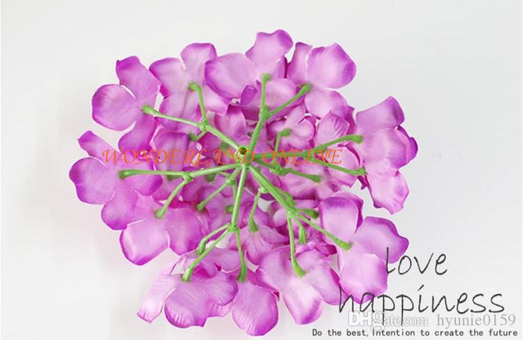 2017NEW RENK DIA 15 cm yapay ortanca çiçek kafa diy düğün buket çiçek baş çelenk çelenk ev dekorasyon