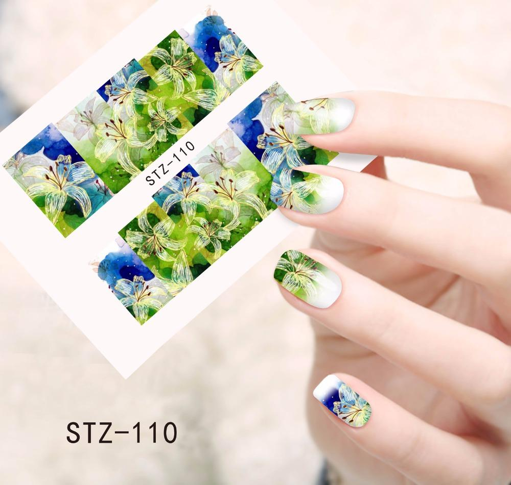 Flower Nail Art Decals New Fashion Nail Water Transfer Stickers Full ...