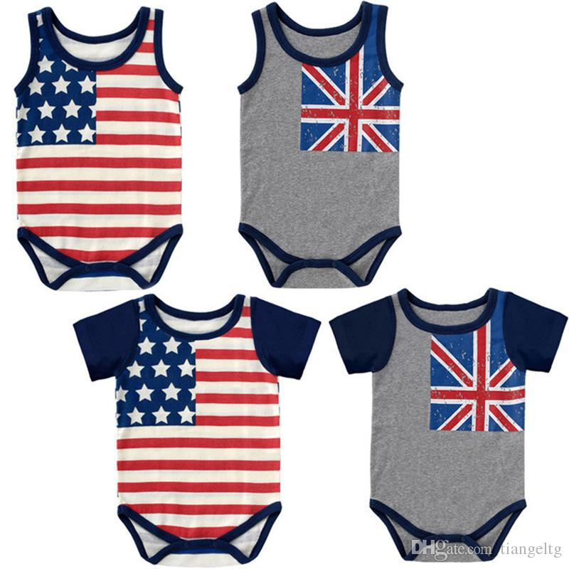 374b187d8a83 Baby Rompers American Flag Summer Cotton Baby Jumpsuits One-piece ...