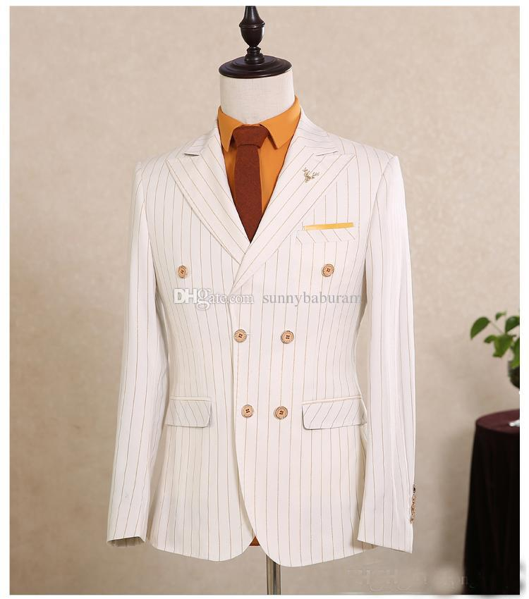 Peaked Lapel High Quality Customized Made Double Breast Slim Fit Wool Mans Suits Side Vent Coat+Pants+Vest Mens Suits Best Man Pro