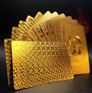 Baraja de naipes dorada lámina de oro póquer Carta mágica Tarjeta de plástico resistente al agua de póquer 3 diseños Dólar estadounidense / Estilo euro / Estilo general