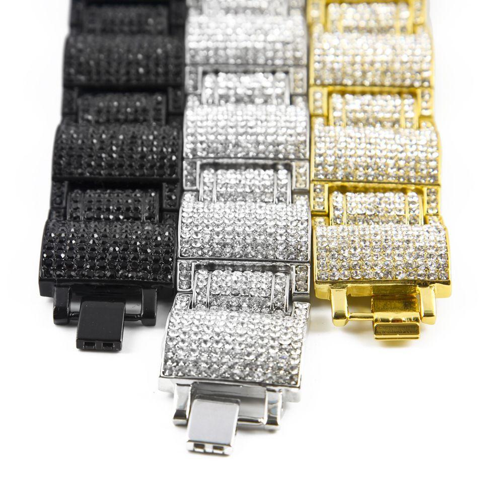 Europe Big Name Shiny White Black Gold Plated AAA RhineStone Alloy Bracelets Hip Hop Chains Cool Men Bracelet Jewelry