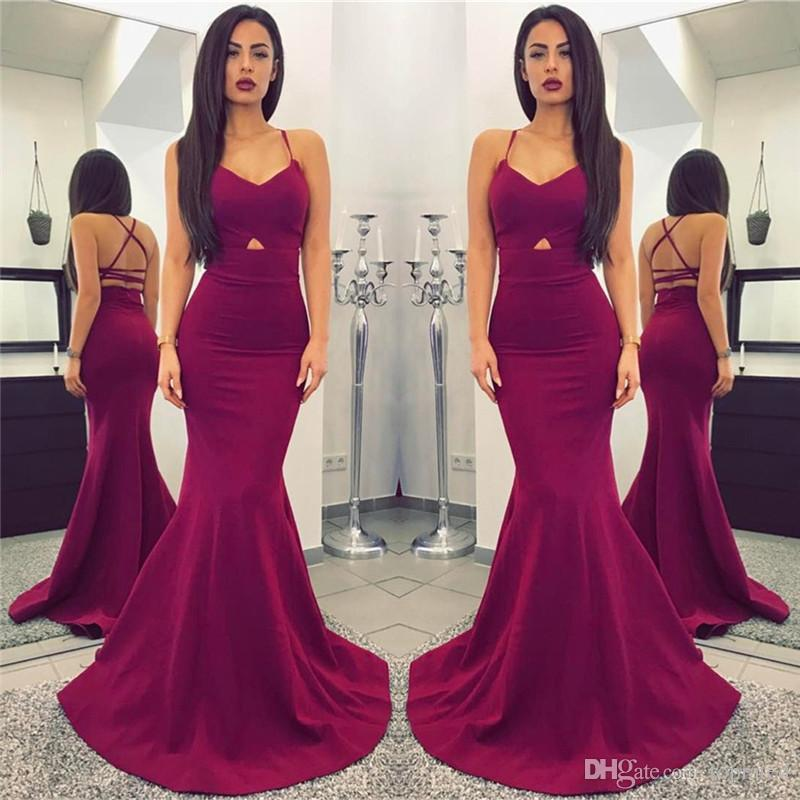 Sexy Mermaid Spaghetti Straps Evening Gowns Fashion burgundy Open Back Sleeveless Cheap long Formal Party Dresses