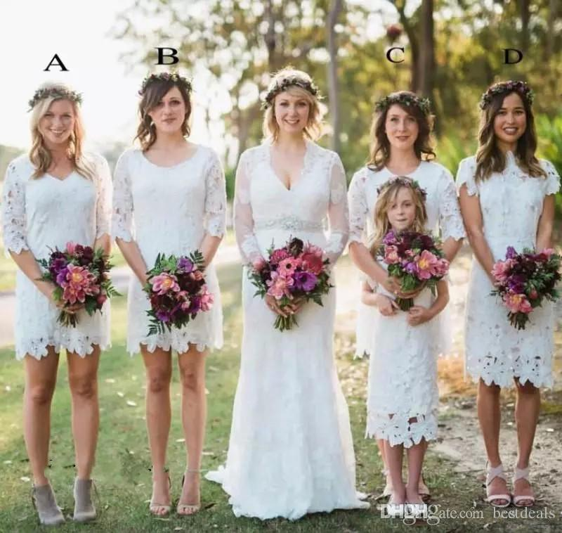 2017 Country Style Bridesmaid Dresses Lace Summer Garden Boho Wedding Party Guest Dress Maid of Honor Gown Plus Size Custom Made