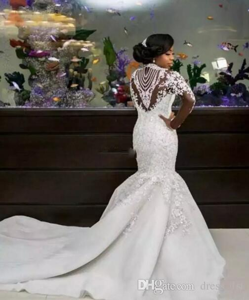Luxury 2019 African Mermaid Wedding Dresses Long Sleeve Sexy Sheer High Neck Sparkle Beads Lace Satin Nigerian Chapel Bridal Gowns Plus Size
