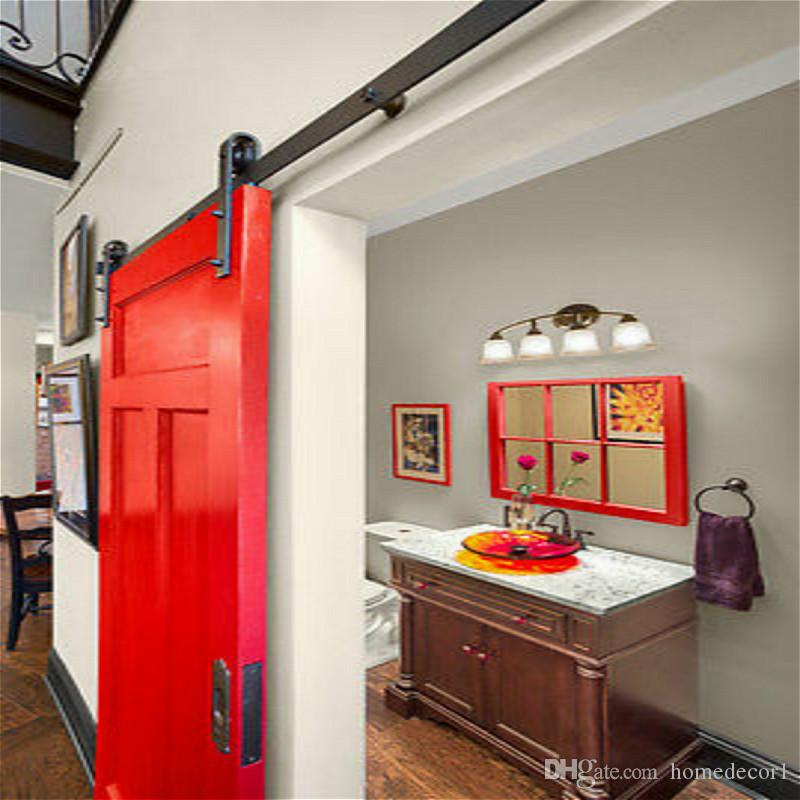 2018 5 8ft Classical Rustic Antique Black Wooden Sliding Barn Door Hardware Interior American Track Roller Kit From Homedecor1