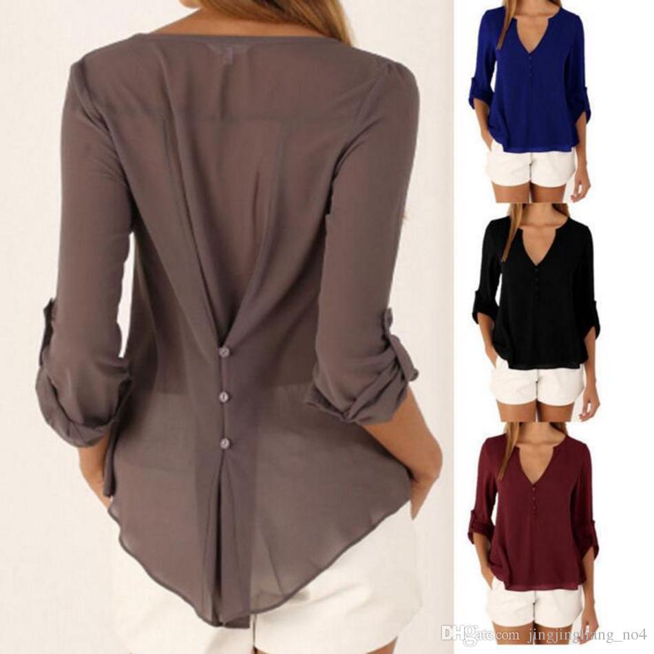 3e2bac873 Women V Neck Long Sleeve Chiffon T Shirt Summer Casual Button Loose Tops  Blouse Chiffon Blouse OOA3391 Tshirt Tshirts From Jingjingliang no4