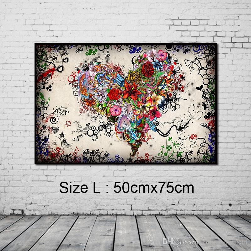 Graffiti Design Abstract Wall Art Heart Flowers Canvas Prints & Posters Painting Pictures Home Decor for Living Room Unframed