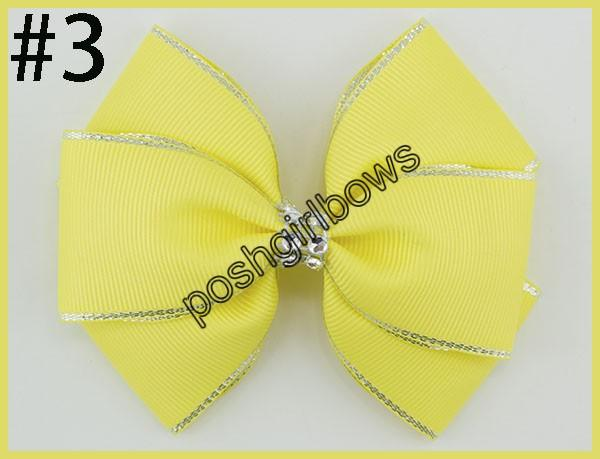 4.5''double layered hair bows silver edge Handmade rhinestone Hair Bows silver edge girl hair bows with clips