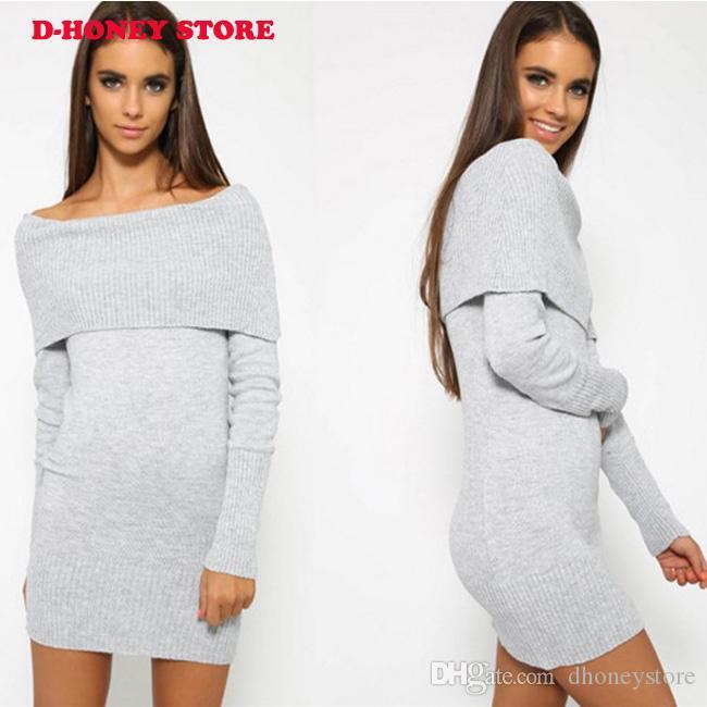 2016 inverno elegante bianco elastico lavorato a maglia strana spalla casual vestito da sera donne sexy autunno aderente maglione ragazze abiti vestidos