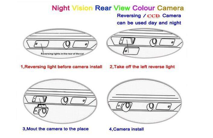 Câmera reversa da câmera do estacionamento do carro para a viagem de Dodge / JC / JCUV 2008 ~ 2015 OEM da lâmpada da câmera da matrícula / licença de RearView ~ 2015