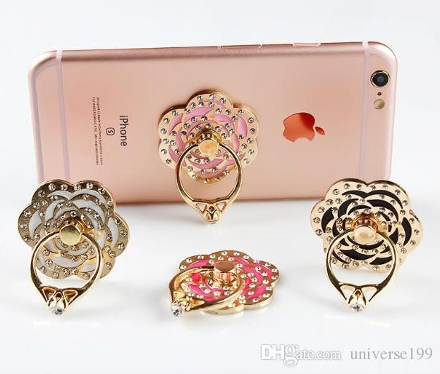 Anillo universal del teléfono móvil del anillo del teléfono celular del anillo del sostenedor del anillo del teléfono celular de la moda con el gancho libre para el coche que usa el soporte del teléfono