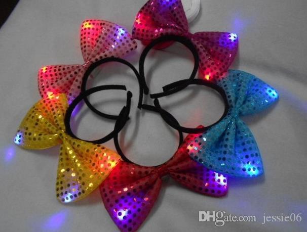 Paillettes LED bandeau Light Up chapeau de fête lumineux clignotant Clignotant Party Favors