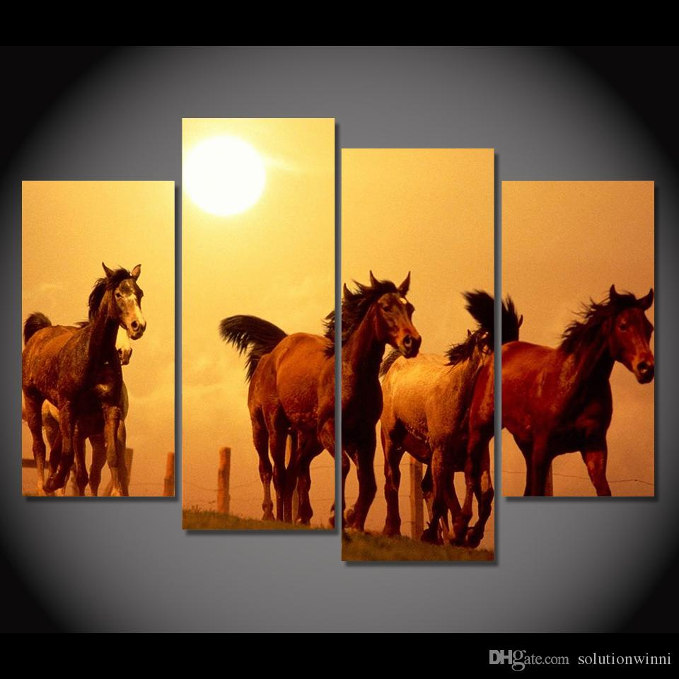 Online Cheap 4 Panel Canvas Art Canvas Painting Horses Sunset Farm ...