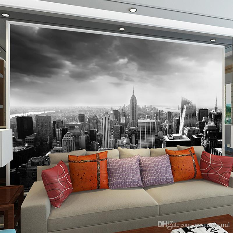 Black White 3d Wall Mural Night Scenery New York City Custom Photo For Background Living Room Architectural Removable