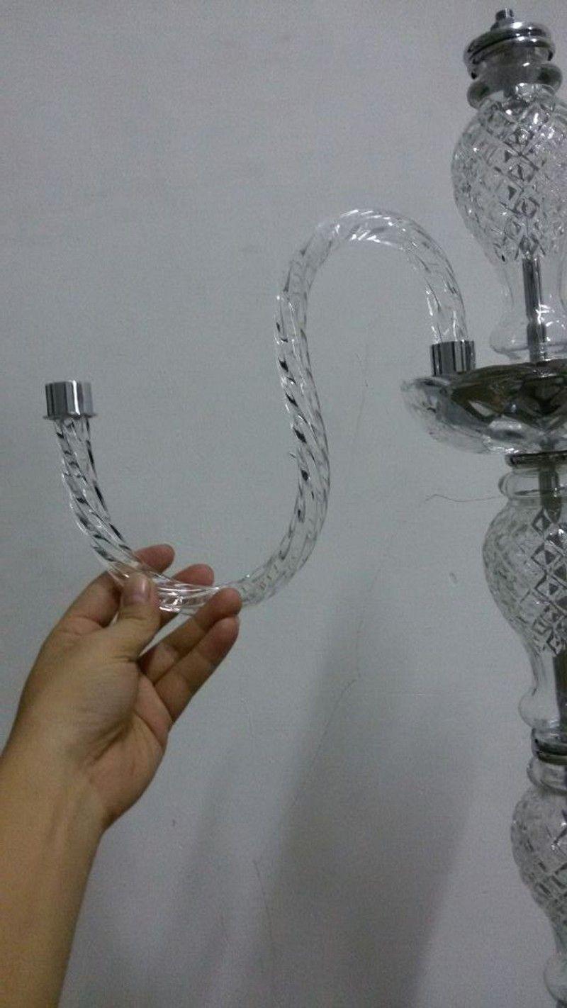 Большой хром ресторан настольные лампы серебристо-серый стекло канделябры светодиодные высокие подсвечники для свадьбы столовая стекло подсвечник стол свет