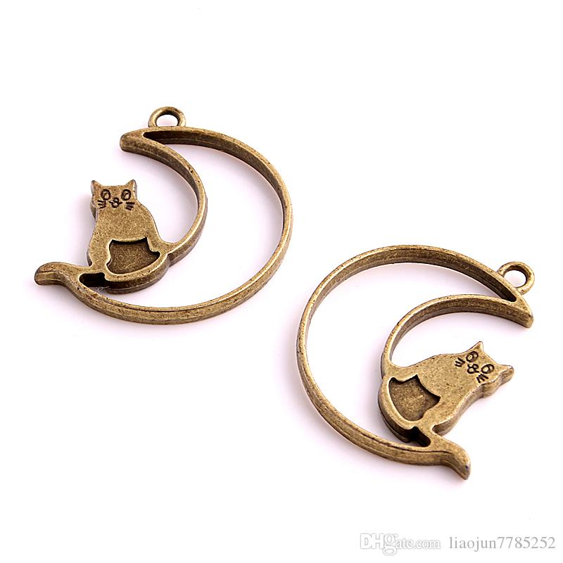 Min order 35*36mm Antique bronze Moon smile Cat Charms Pendants for Jewelry Making DIY Handmade Craft Floating locket D6062