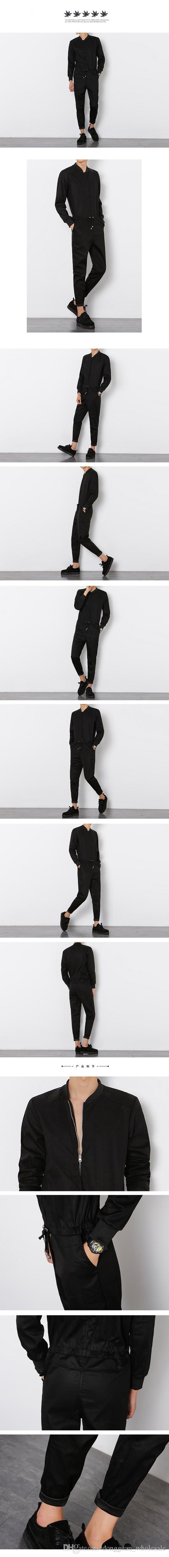 2018 Mens Black Long Sleeved Jumpsuit Male Elegant Cool Overalls Summer Hip-Hop Rompers Harem Bib Pants 041605