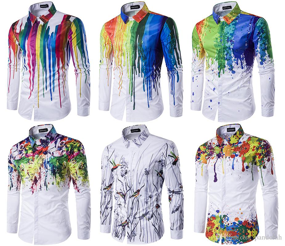 2018 2017 Nwt Fashion Men\'S Casual Shirts Colorful Print Shirts ...