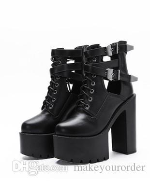 도매 무료 배송 유럽과 미국의 브랜드 땅딸막 한 발 뒤꿈치 무례 뒤꿈치 패션 높은 뒤꿈치 벨트 플랫폼 마틴 부츠 여성 shoe352