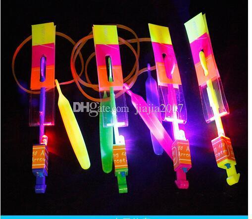 LED Amazing Flying Arrows Helicopter Umbrella Light Parachute Kids Toys LED Flying Toys DHL