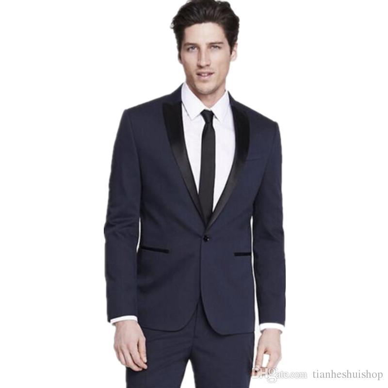 Tailor made men's suits Slim Fit Groom suits Tuxedos Navy bule Mens Wedding Best Man dress suits Jacket+Pants