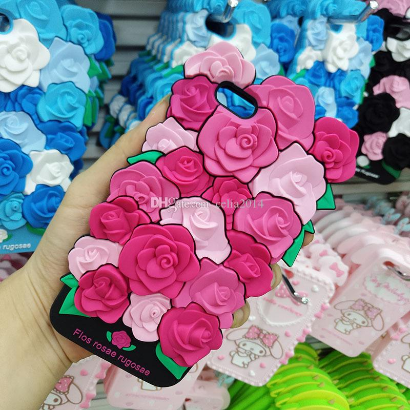 2017 Fashion sexy girl perfume lipstick rouge simulation 3D Rose Flower Leaves flowe case cover For Iphone 6 6S 7 Plus Soft