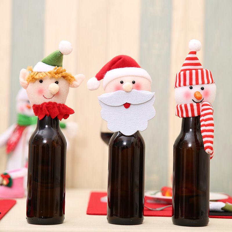 christmas wine bottle hats navidad santa xmas decorations santa claus christmas ornaments xmas bottle decorations party supplies bottle hats hats xmas
