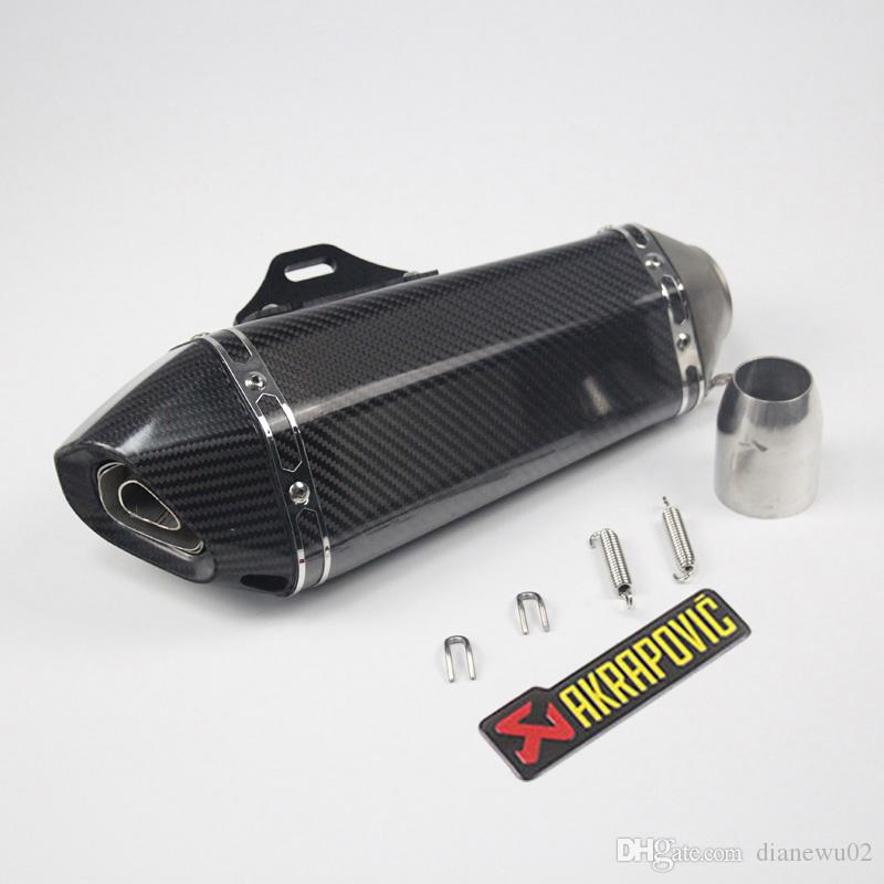 Length 360mm Inlet 51mm Motorcycle Exhaust Muffler Pipe Carbon Fiber Motorbike Exhaust Pipe Mufflers with DB Killer