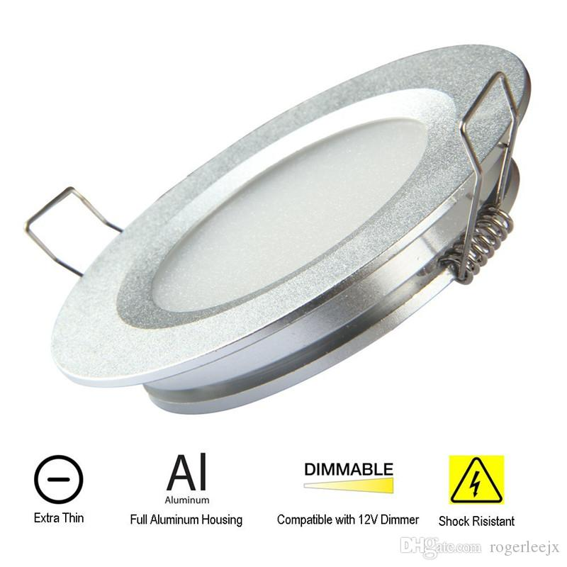 Topoch LED Recessed Downlight Lamp 4-Pack Ultra Thin Spring Clips Mount Full Aluminium DC12V 3W 240LM for RV Boat House Sliver White Nickel