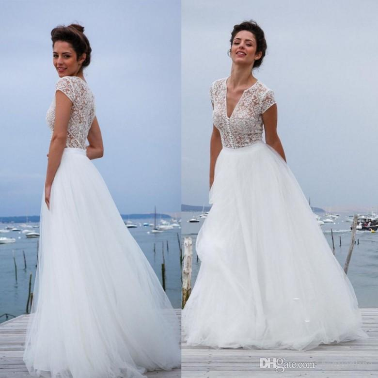Discount 20107 Illusion Chic Lace Top A Line Wedding Dresses V Neck ...