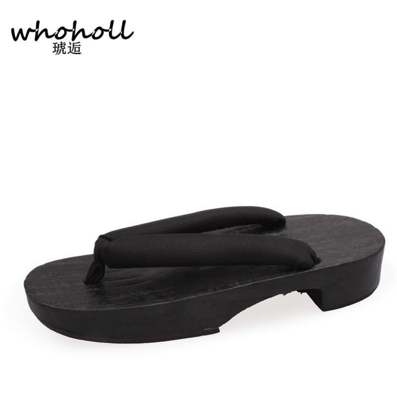 0f40bdd7ab69 2019 Women Flip Flops Sandals Summer Heel Japanese Geta Wooden Slippers  Rubber Designer Bathroom Antiskid Slippers Cosplay Shoes Costumes From  Awhazln