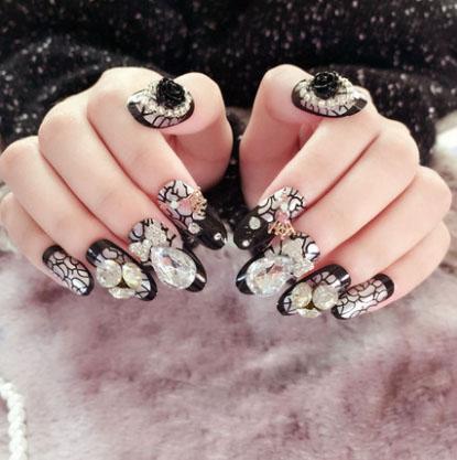 3d Fake Nails Professional Rhinestone Bling Bling Decoration Nail