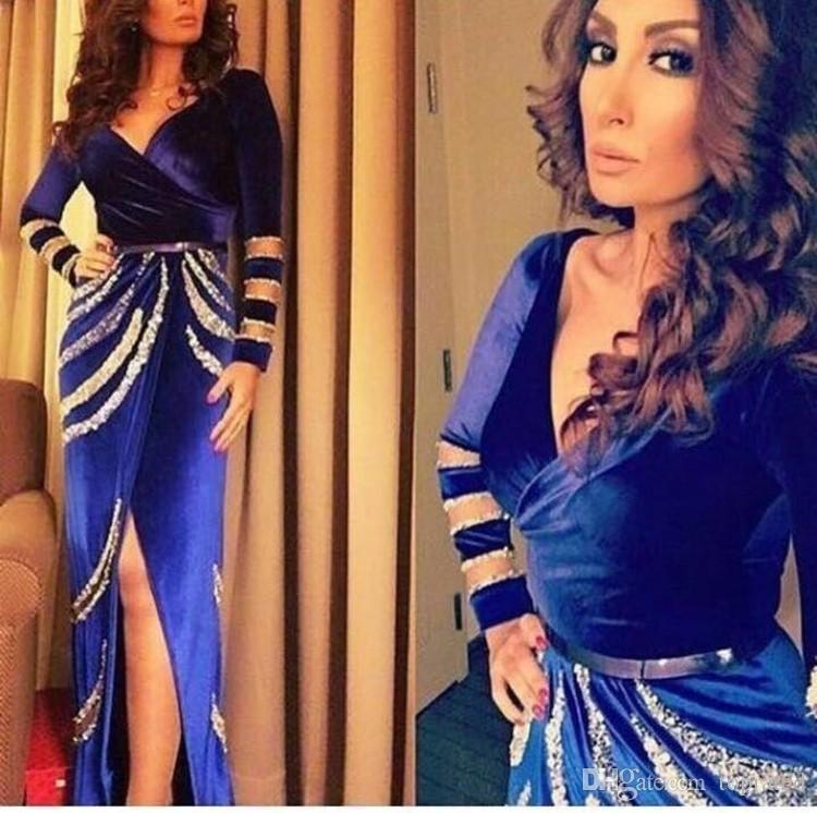 Элегантные вечерние платья с длинными рукавами V-образным вырезом Sexy Split 2019 Бархатное синее платье выпускного вечера Платья по фигуре для театрализованного представления
