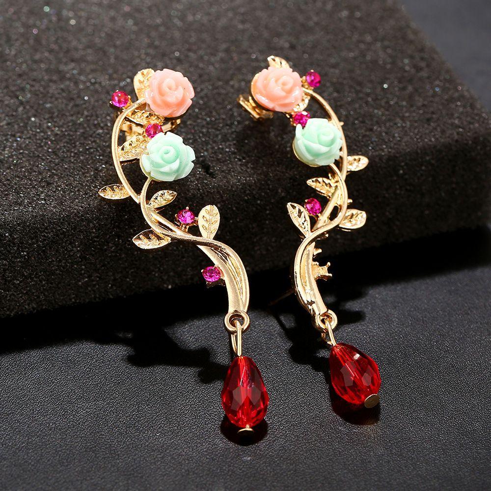 ZLDYOU Multi Colored Resin Rose Flower Ear Cuff Women Gifts Jewelry Crystal Water Drop Earcuffs Acrylic Beads Clip Earring